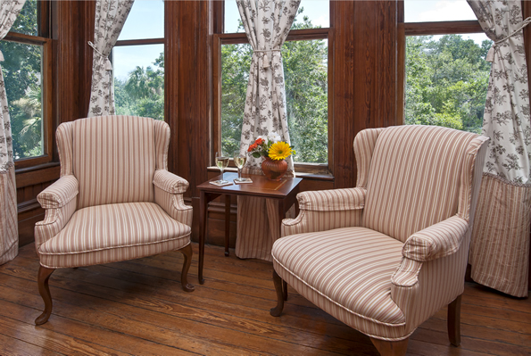 The Magnolia Suite sitting area by box bay window