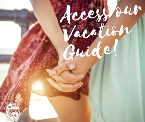 couple holding hands in the summertime text reads access our vacation guide!