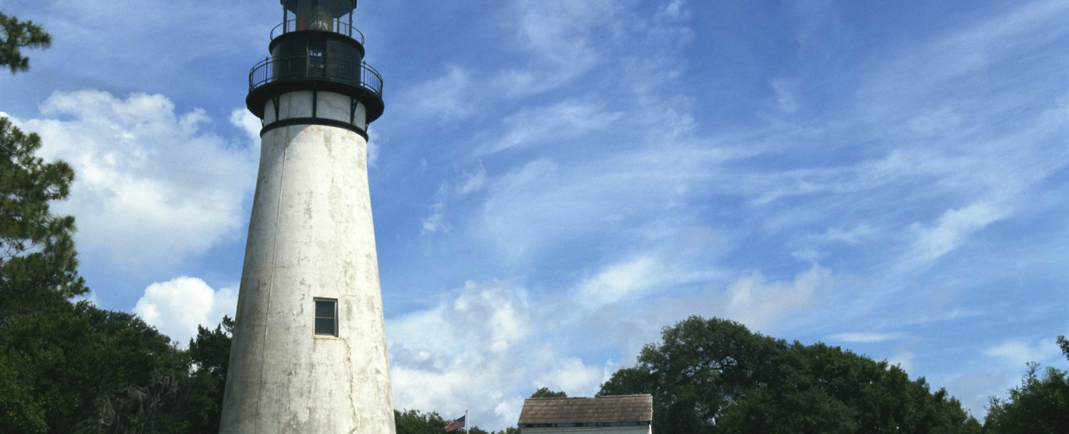 The beautiful tranquil Amelia Island Lighthouse in Fernandina beach