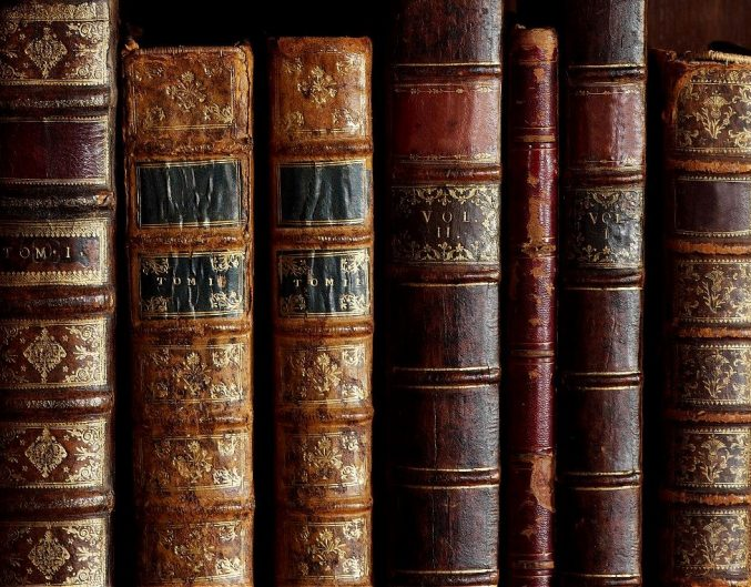 collection of books stacked on a shelf