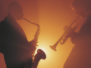 jazz players saxophone and trumpet