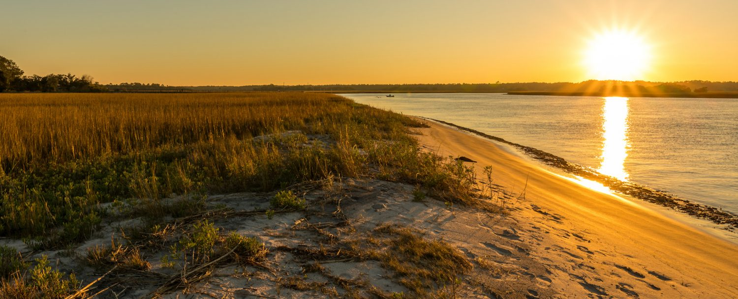 Late-afternoon view along a marshy stretch of Talbot Island in northeast Florida.