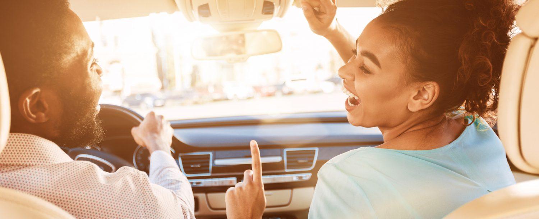 Enjoy Journey. Afro Couple Listening Music, Driving Car