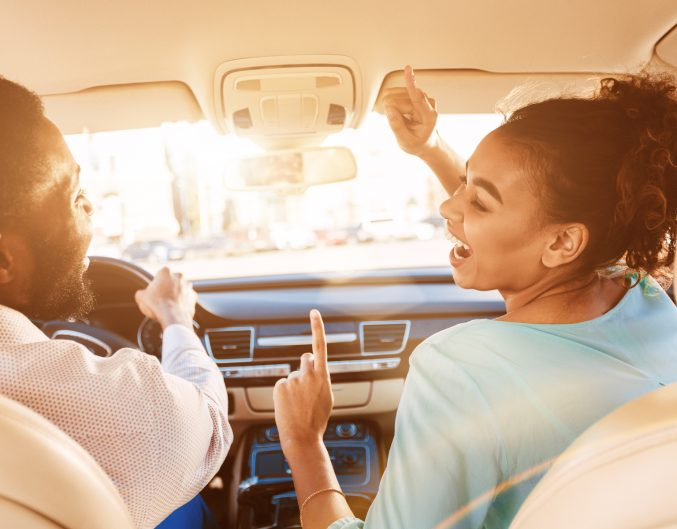 Enjoy Journey. Afro Couple Listening Music, Driving Car