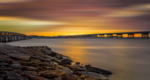 rocky beach at dusk, Amelia Island in October